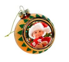 Ёлочный шар с узором стеклянный (фото на заказ)